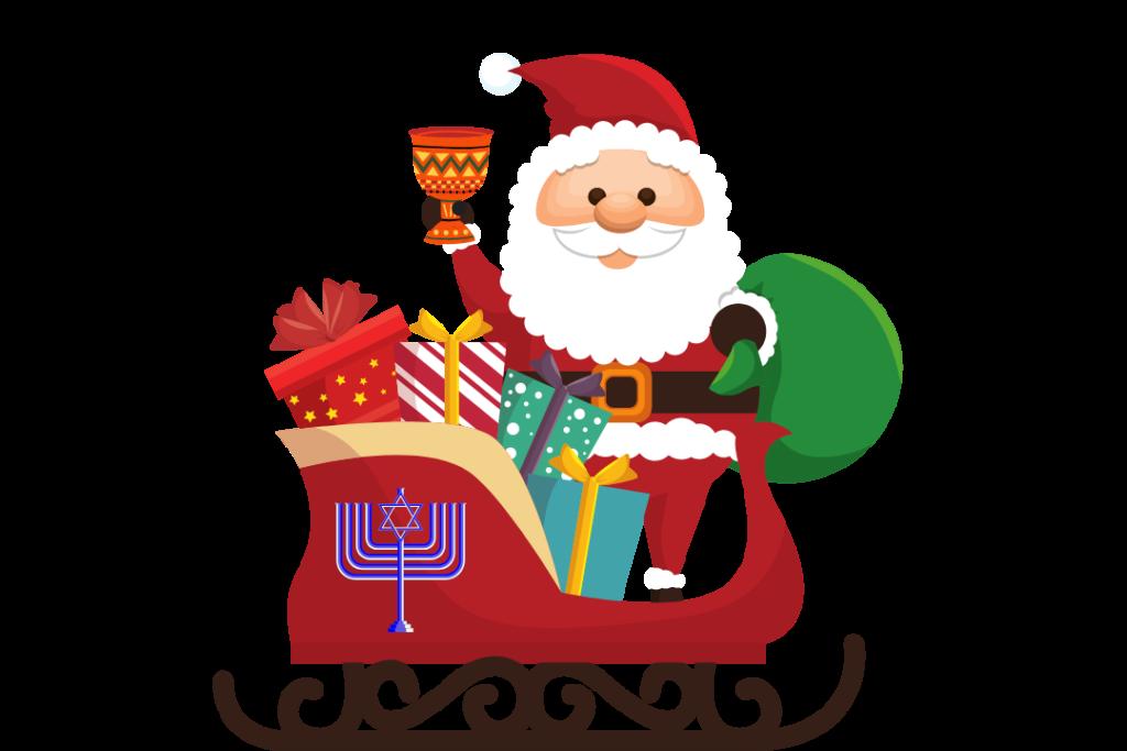 santa in sleigh with menora
